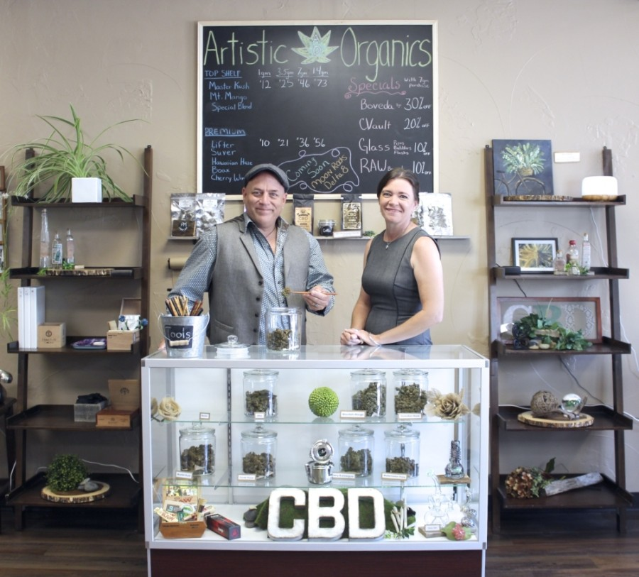 Co-owners Ed Mahoney and Kellie Kauten opened Frisco's first CBD store Artistic Organics in the Rail District in 2018. (Photos courtesy Artistic Organics)