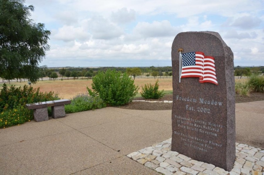 In addition to the virtual 9/11 Remembrance Service, two live wreaths will be placed at the Freedom Meadow memorial at Warren Sports Complex in the early morning hours of Sept. 11. (Courtesy Visit Frisco)