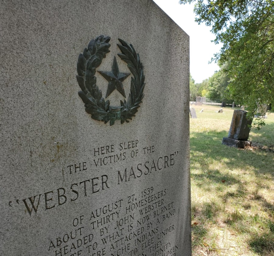 A monument to the Webster Massacre, erected by the state during its centennial in 1936, stands in Davis Cemetery in Leander. (Brian Perdue/Community Impact Newspaper)