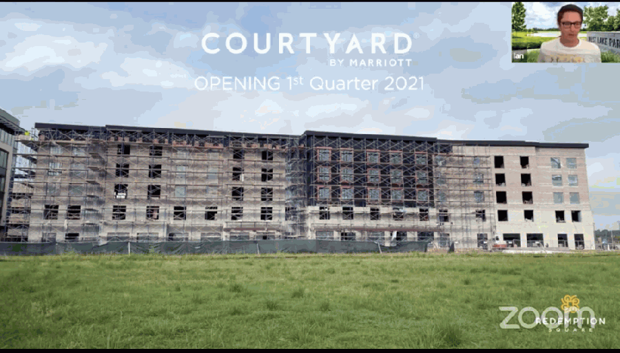 Generation Park Director of Marketing Ian Adler said the Courtyard by Marriott will open in spring 2021 on Sept. 10 during a Lake Houston Area Chamber of Commerce event. (Screenshot courtesy Lake Houston Area Chamber of Commerce)