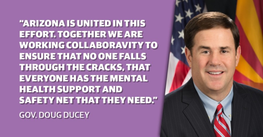 Gov. Doug Ducey joined state education, legislative and veteran affairs leaders Sept. 10 to discuss suicide prevention and awareness in schools and in the broader community on National Suicide Prevention Day. (Community Impact staff)