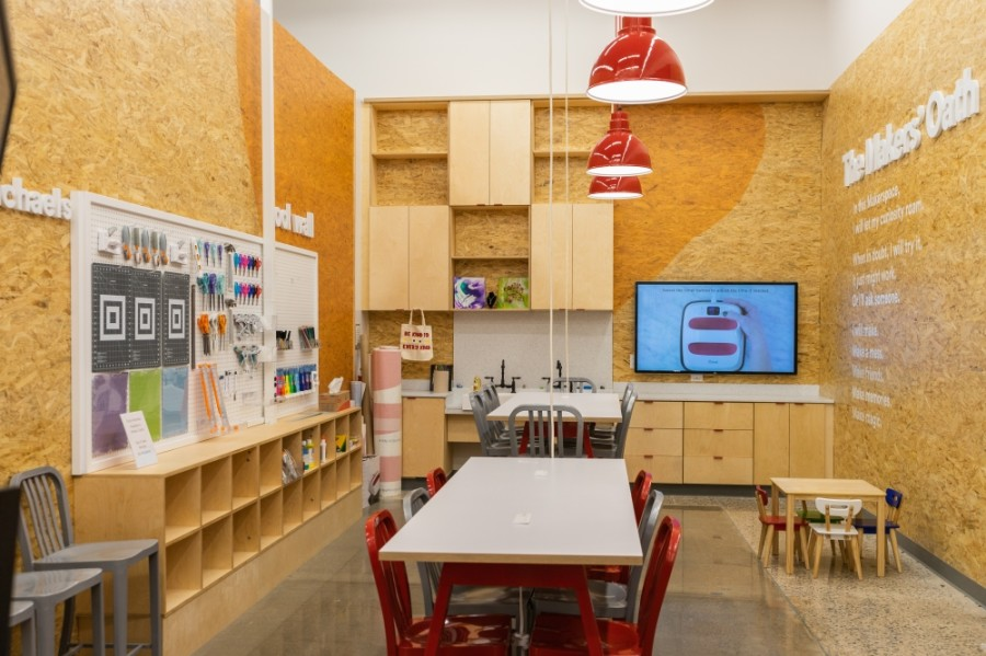"The ""maker space"" is used to host classes and demonstrations. (Courtesy Michaels)"