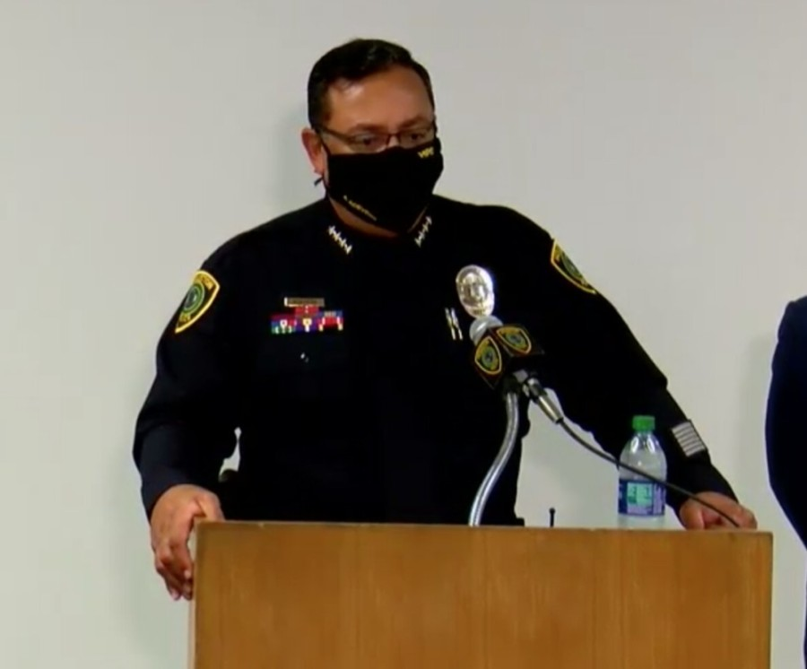 Houston Police Chief Art Acevedo announced the firing of four officers Sept. 10 in connection with the death of Nicholas Chavez. (Courtesy HTV)