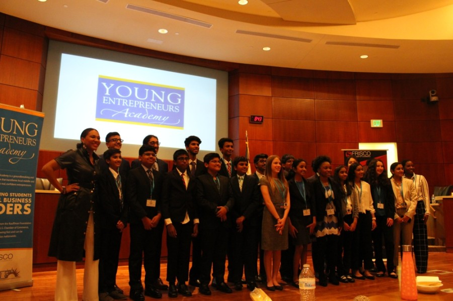 The Young Entrepreneurs Academy class of 2019-20 is pictured here at the annual investor panel in the spring. (Elizabeth Uclés/Community Impact Newspaper)