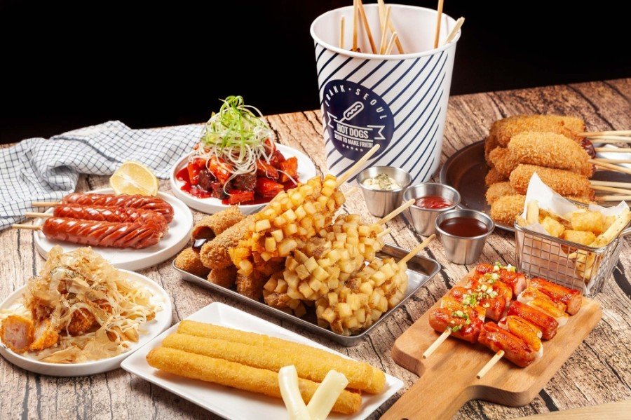 The Korean cafe serves a variety of fried hot dogs, desserts and snacks. (Courtesy Frank Seoul)
