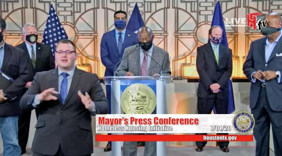 At a July 1 press conference, Houston Mayor Sylvester Turner announced a partnership between the city, Harris County and a team of nonprofits to address chronic homelessness. (Screenshot courtesy Zoom)