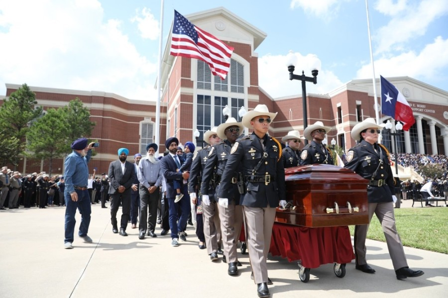 Public officials, law enforcement officers and members of the Sikh community mourn the loss of Deputy Sandeep Dhaliwal on Oct. 2, 2019. (Courtesy Harris County Sheriff's Office)