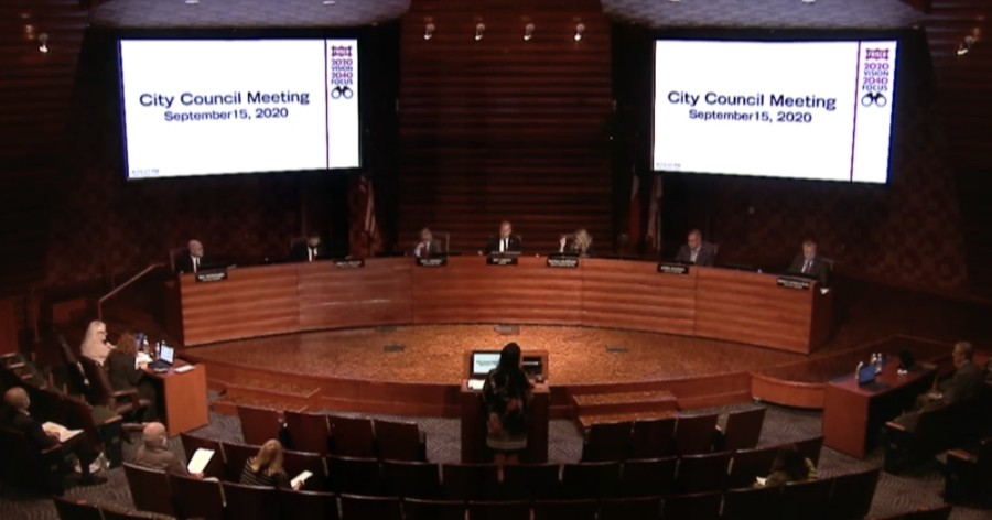 The Frisco City Council unanimously approved the fiscal year 2021 budget and tax rate at its Sept. 15 after months of planning and discussion. (Screenshot courtesy city of Frisco)