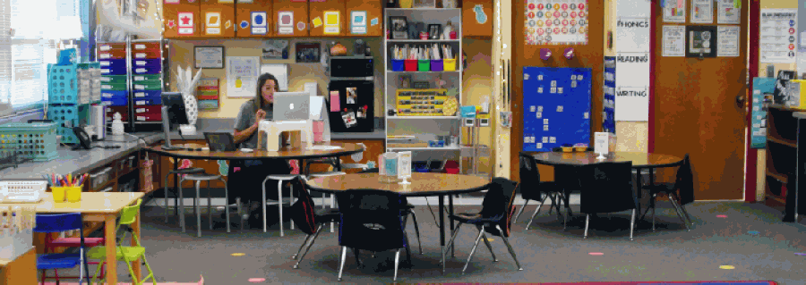 Alexandria Marquez teaches first grade students from an empty classroom at Hamilton Park Pacesetter Magnet. (Courtesy Richardson ISD)