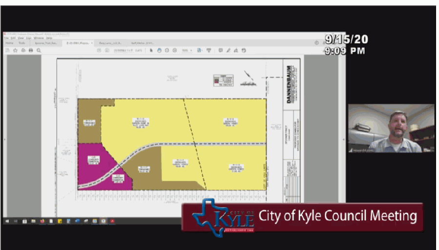 Kyle City Council voted during its Sept. 15 meeting to change the nearly 180 acres of undeveloped Spooner Tract's zoning. (Screen Shot courtesy city of Kyle)