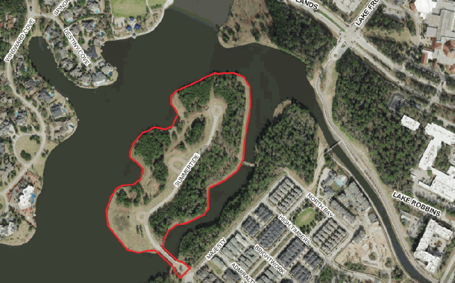 Materials for the Houston Planning Commission meeting scheduled Sept. 17 show aerial views of Mitchell Island, where The Howard Hughes Corp. has plans to build 58 houses. (Courtesy Houston Planning Commission)