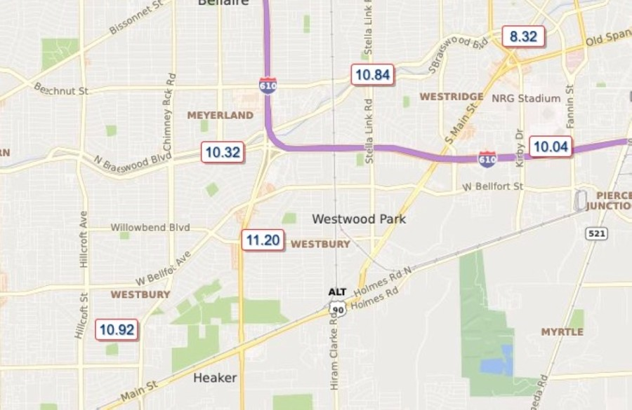 The Harris County Flood Warning System measured measured over 11 inches of rain near the Westbury area in 24 hours as of almost 9 a.m. Sept. 22. (Screenshot Harris County Flood Warning System)