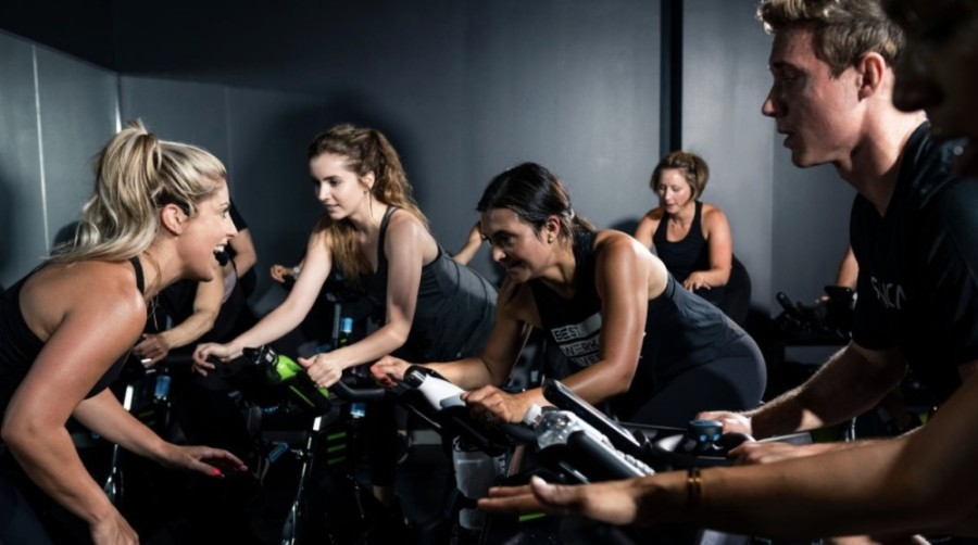 The fitness studio will combine spin, high-intensity interval training and yoga in 60-minute sessions. (Courtesy Spenga)