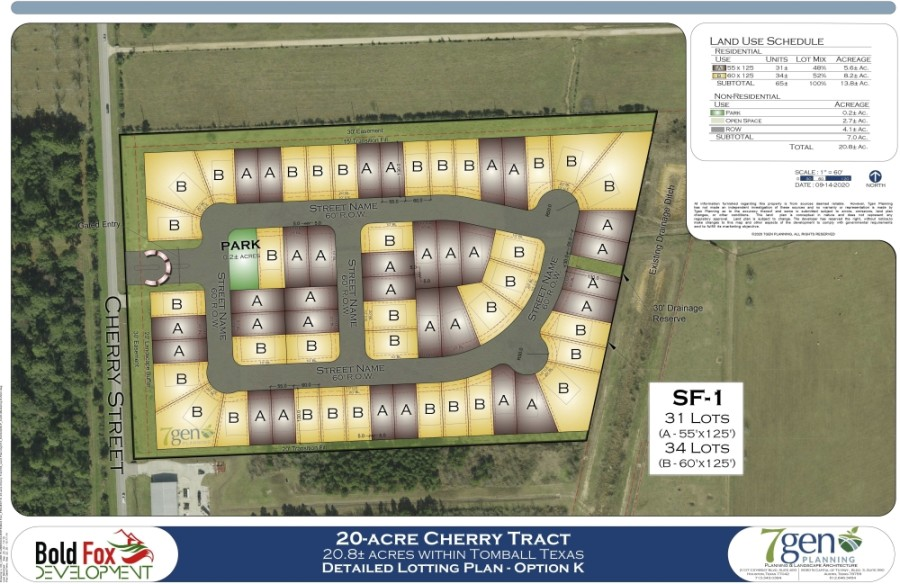 A new gated community is slated for Tomball at the northwest corner of Cherry Street and Holderrieth Road, proposing 65 homes, according to a Sept. 22 release from Bold Fox Development. (Site plan courtesy Bold Fox Development)