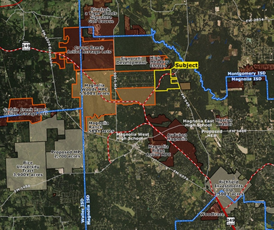 Zoned in Magnolia ISD, the 873-acre property is located on FM 149 and Hwy. 249. (Courtesy Land Advisor Organization)