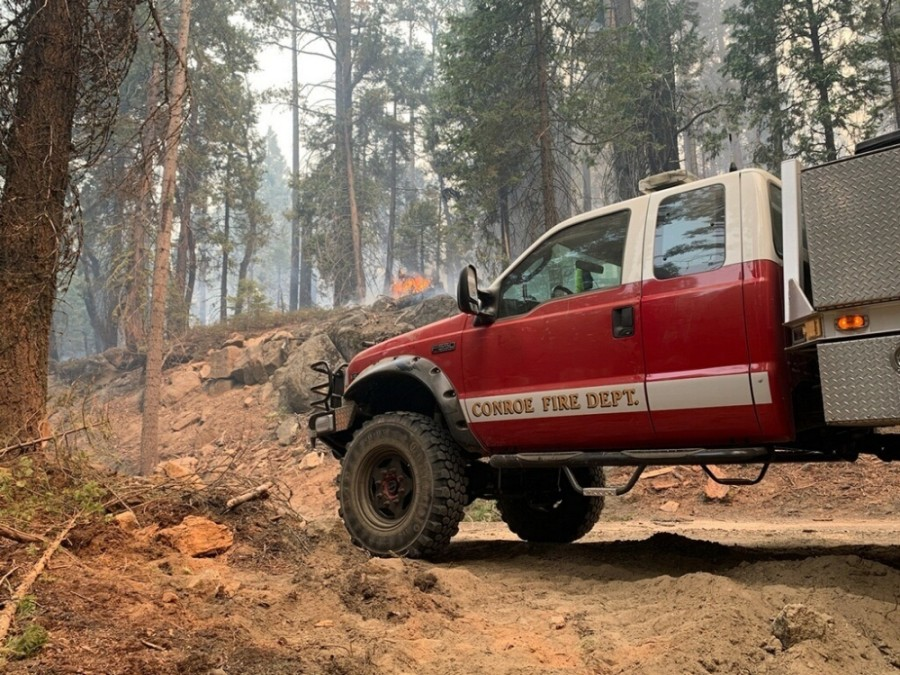 Conroe and Montgomery County firefighters assigned to Strike Team 143 are assisting California departments with containing Creek Fire, the largest single fire in California's history. Crews from the Porter Fire Department are assigned to the August Complex, which is the largest fire in the state's history, as of Sept. 23. (Courtesy Conroe Fire Department)