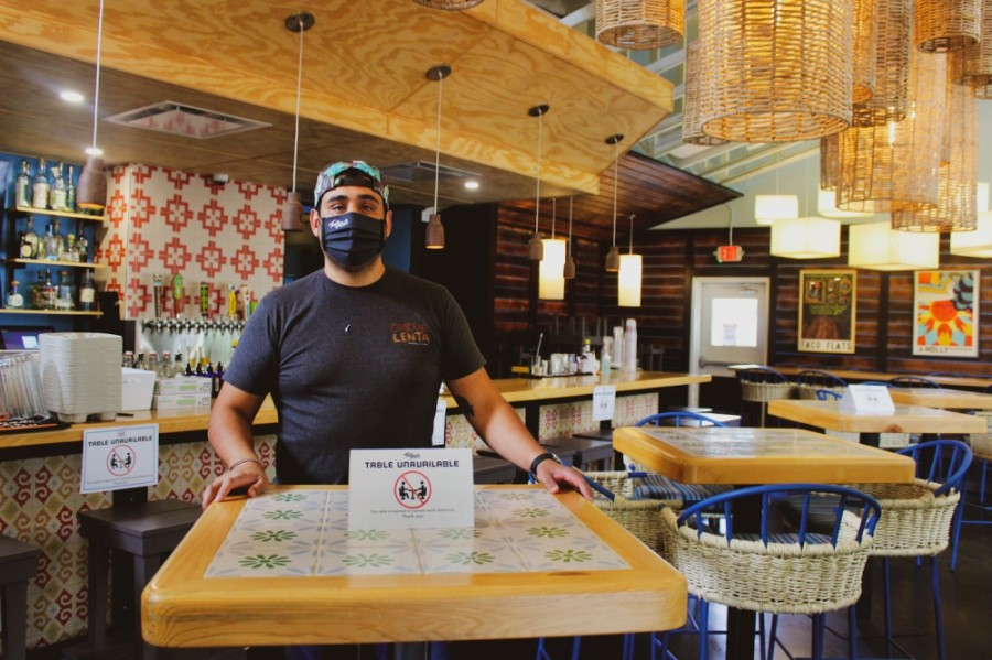 Simon Madera, owner of Taco Flats, said business is down 40% across the board but that he has readjusted the business model to stay afloat in the pandemic long term. (Christopher Neely/Community Impact Newspaper)