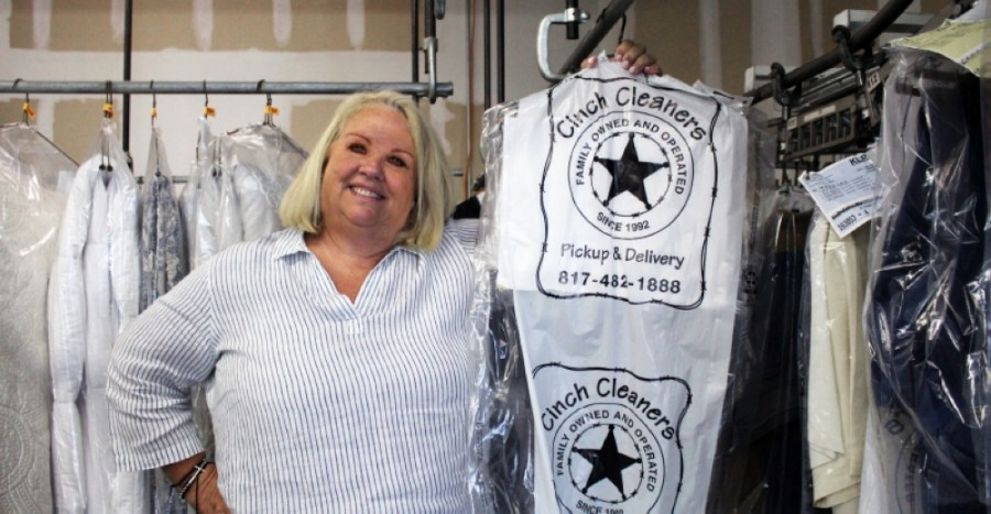 Sheri Brunson, owner of multiple Cinch Cleaners locations in Dallas-Fort Worth, has been a business owner for more than two decades, but even she is struggling with a new normal amid the COVID-19 pandemic. (Ian Pribanic/Community Impact Newspaper)
