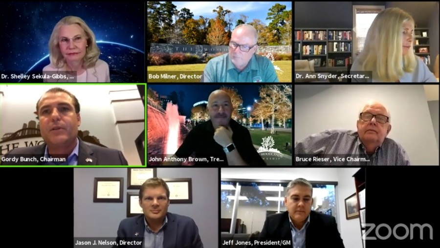 The Woodlands Township board of directors held a virtual meeting Sept. 23. (Screenshot via The Woodlands Township)