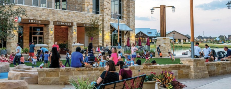 Residents gather at the Boardwalk at Towne Lake on Barker Cypress Road (Courtesy Boardwalk at Towne Lake)