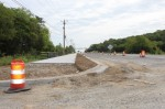 Work is underway on a new trail on Hwy. 96 W. in Franklin. (Wendy Sturges/Community Impact Newspaper)
