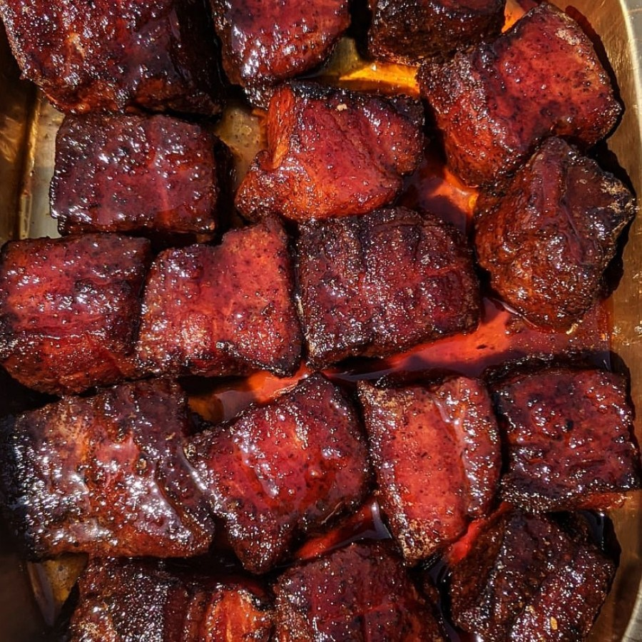 Crimson Creek Smokehouse specializes in pork barbecue including pork belly burnt ends. (Courtesy Crimson Creek Smokehouse)