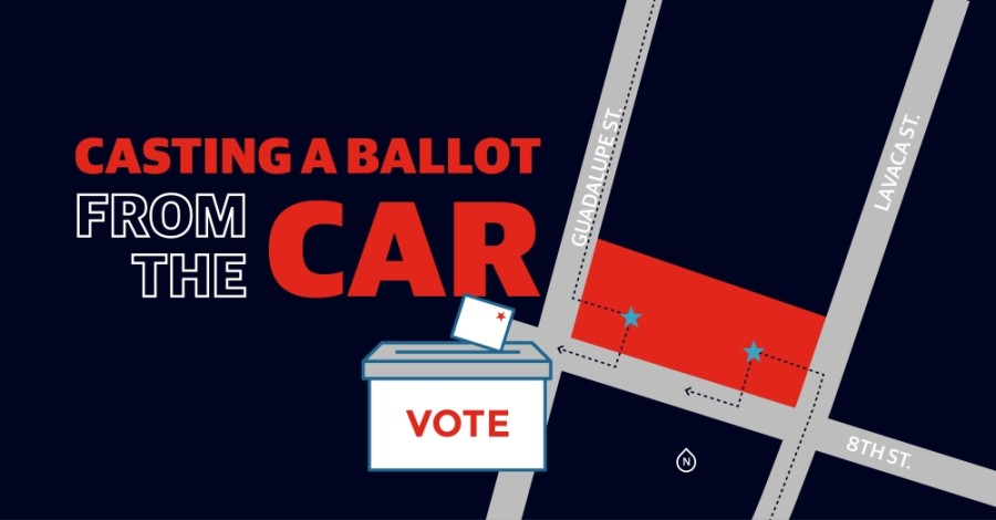 Travis County expects about 12% of registered voters to cast a mail-in ballot in the Nov. 3 election. The county originally opened three drive-thru locations for voters to drop off mail-in ballots, but was forced to close two of those centers after an order from Gov. Greg Abbott on Oct. 1. The lone location remaining is at 5501 AIrport Blvd., Austin.  (Design by Miranda Baker)