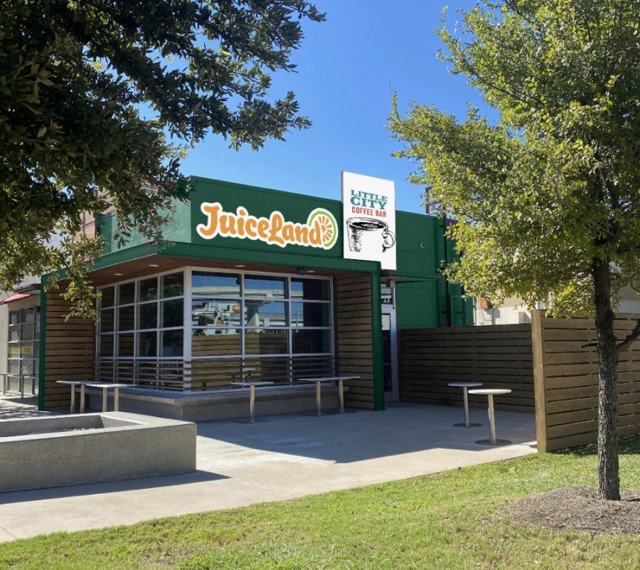 JuiceLand is partnering with Little City coffee to open a new cafe in South Austin in October. (Rendering courtesy JuiceLand)