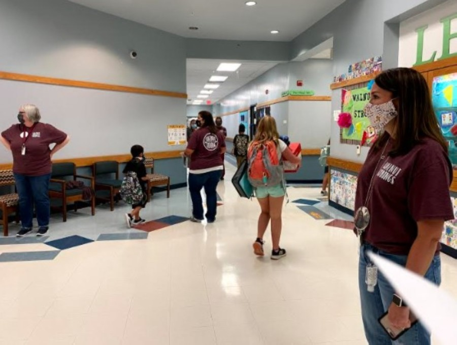 Students walk through the Walnut Springs Elementary School campus on the first day of on-campus learning at Dripping Springs ISD on Sept. 14. (Courtesy Dripping Springs ISD)