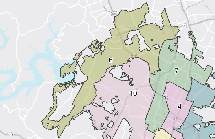 Austin City Council District 6 covers the northwest portion of the city and extends into Williamson County to the north. (Courtesy City of Austin)
