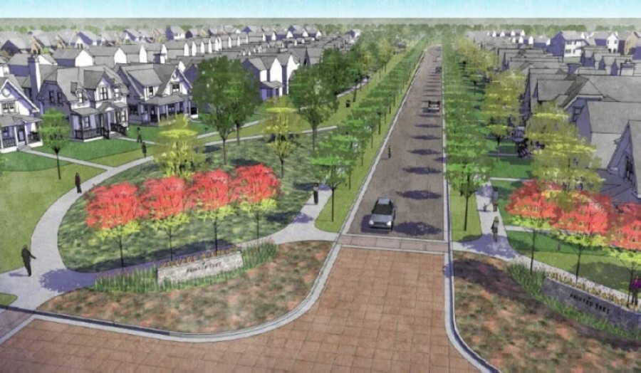 Painted Tree will be divided into several districts, including the Village District, pictured here. (Rendering courtesy Oxland Advisors)
