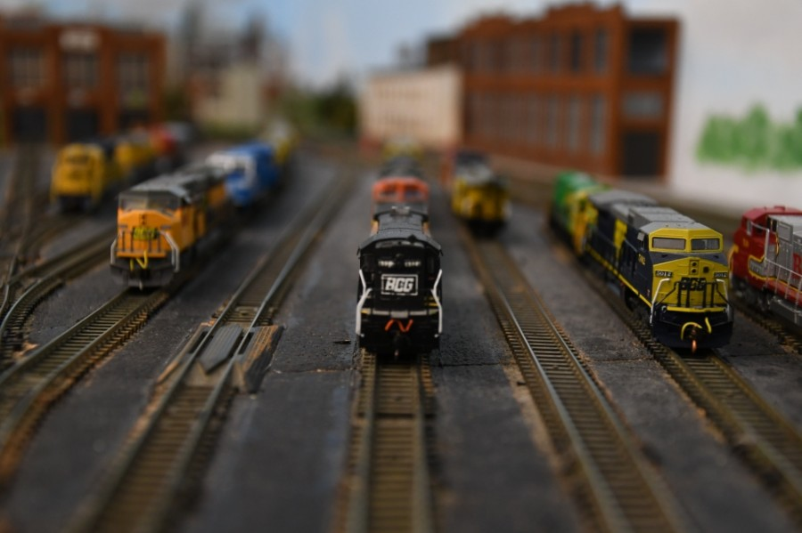 Trains used in the layout are all Z scaled, at a scale ratio of 1:220. (Hunter Marrow/Community Impact Newspaper)