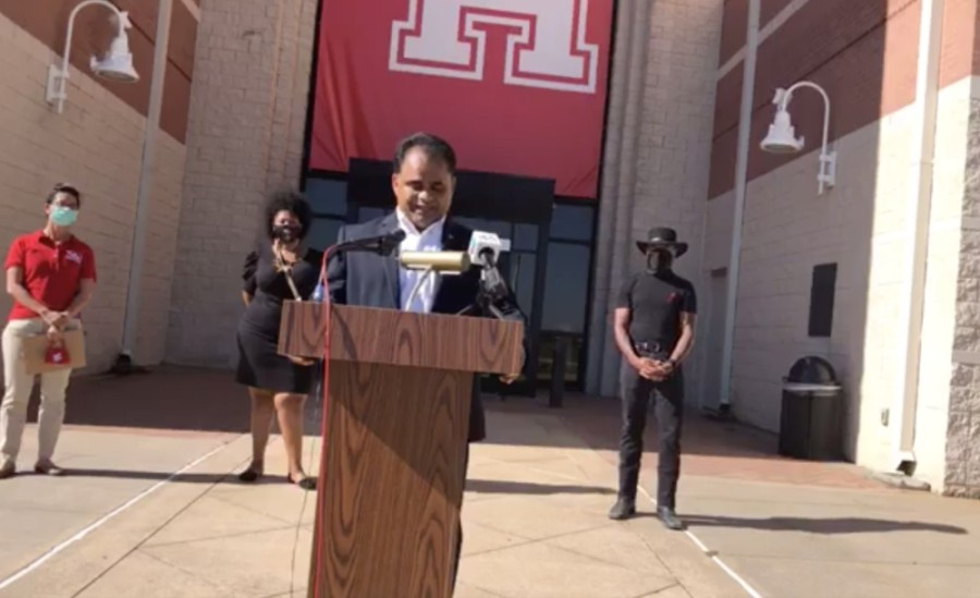 County Judge KP George and other community partners announced the yearlong Diversity Over Division program at a Sept. 30 press conference in front of the University of Houston at Sugar Land. (Screenshot courtesy Fort Bend County)