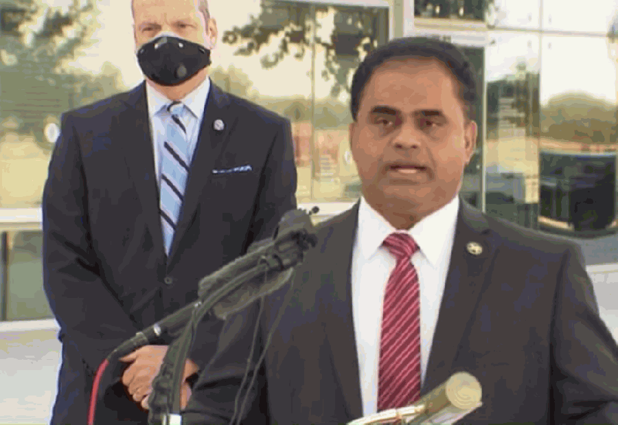Fort Bend County Judge KP George announced voting megasites, mail ballot drop-off locations and extended hours at an Oct. 1 press conference at the Smart Financial Centre in Sugar Land. (Screenshot from livestream)