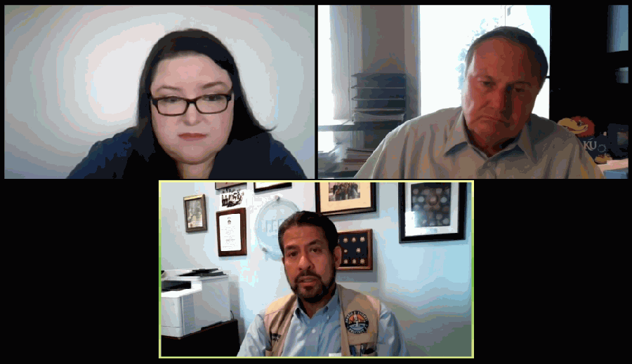 Harris County Precinct 2 Commissioner Adrian Garcia (bottom) discussed several topics during a Bay Area Houston Transportation Partnership webinar Oct. 5. (Screenshot courtesy Bay Area Houston Transportation Partnership)