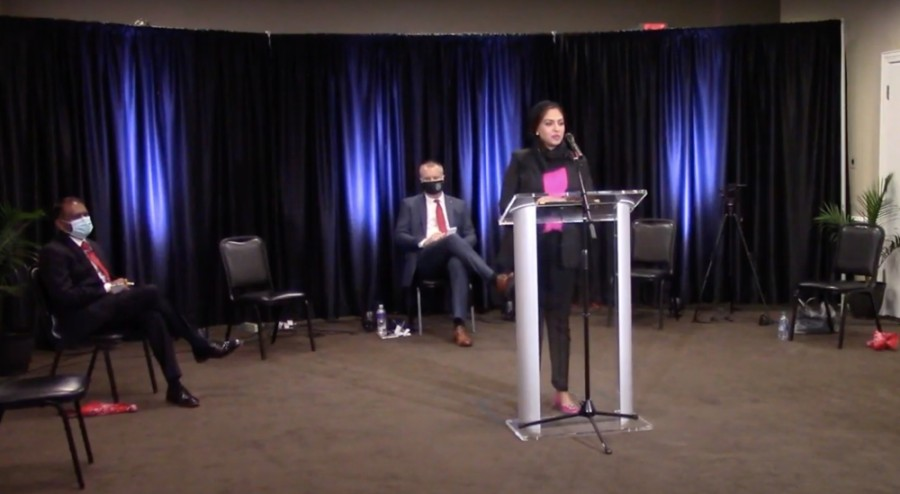 For the City Council Place 6 race, Sai Krishna (left), Brian Livingston (middle) and Sadaf Haq (right) attended the forum. Haq and Krishna are facing incumbent Livingston, who is seeking re-election for the Place 6 position. (Screenshot courtesy Frisco Chamber of Commerce)