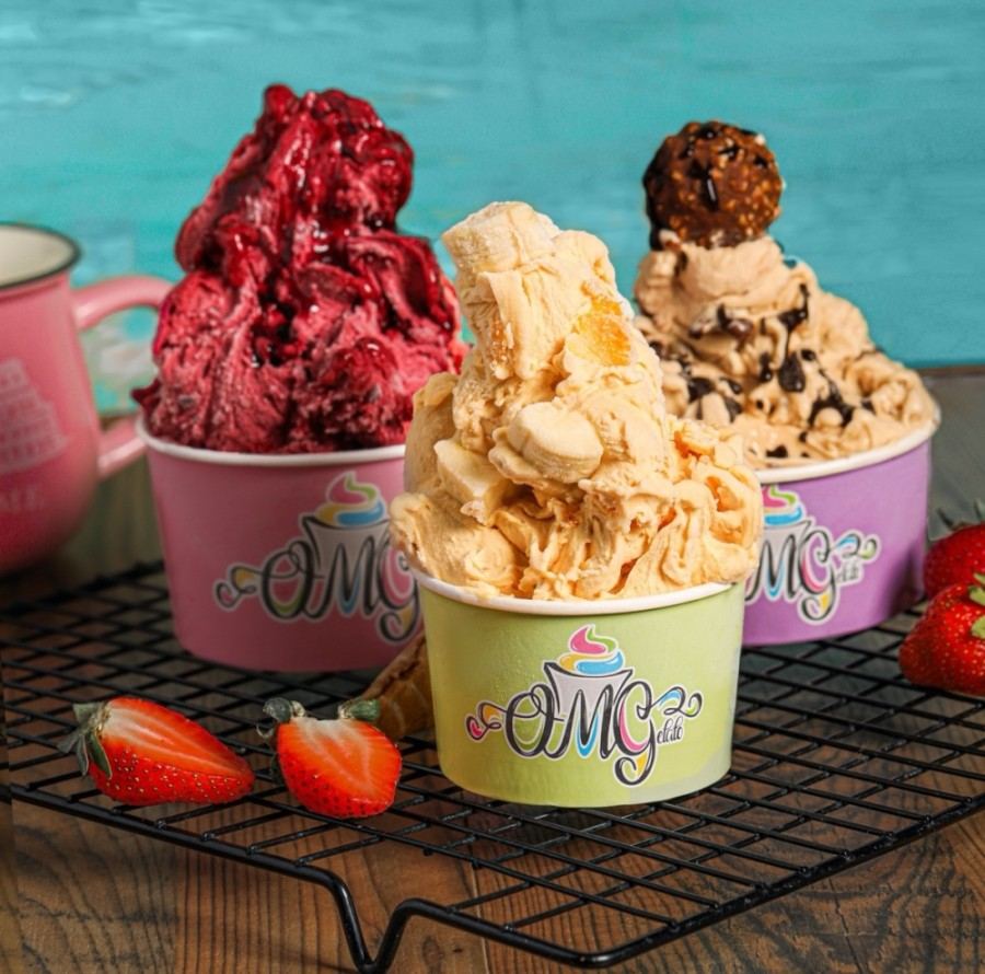 Customers will have the option of combining more than 60 base flavors with mix-ins and toppings, such as candies, nuts and fruits. (Courtesy OMGelato)