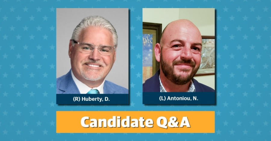 Republican incumbent Dan Huberty is running against libertarian candidate Neko Antoniou for the House District 127 seat. (Designed by Ronald Winters/Community Impact Newspaper)