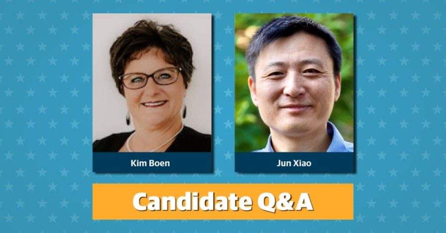 Two candidates, Kim Boen and Jun Xiao, are running for Round Rock ISD board of trustees Place 1.