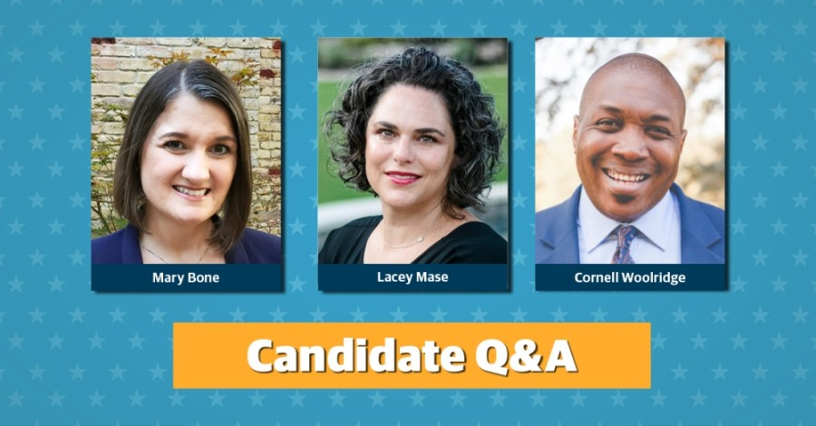 Three candidates, Mary Bone, Lacey Mase and Cornell Woolridge, are running for Round Rock ISD board of trustees Place 2. (Community Impact Newspaper staff)