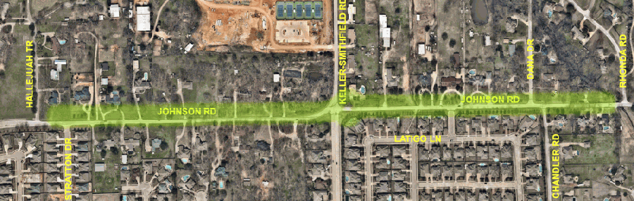 A city of Keller construction project on a 0.75-mile portion of Johnson Road could begin as early as March. (Courtesy city of Keller)