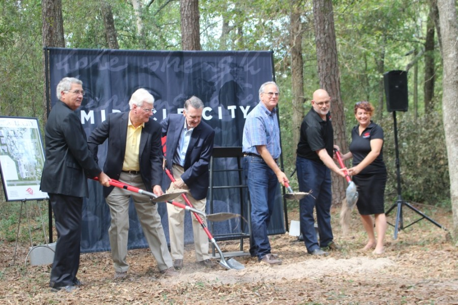 Officials with Compassion United broke ground on Miracle City on Oct. 8 at 350 Foster Drive in Conroe. (Eva Vigh/Community Impact Newspaper)