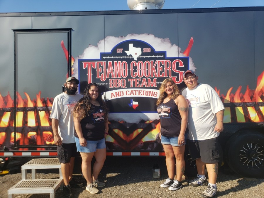 Chris Rodriguez (right) opened the Tejano Cookers food truck with wife Angie, cousin Erica Cansino and her husband Tony. (Ali Linan/Community Impact Newspaper)