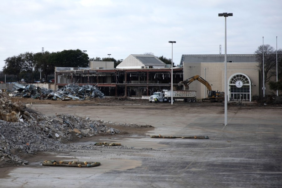 The Collin Creek Mall redevelopment project will likely receive $30 million in federal funds toward a parking garage. The redevelopment project is currently in its demolition phase, as seen on Jan. 29, when this photo was taken. (Liesbeth Powers/Community Impact Newspaper)