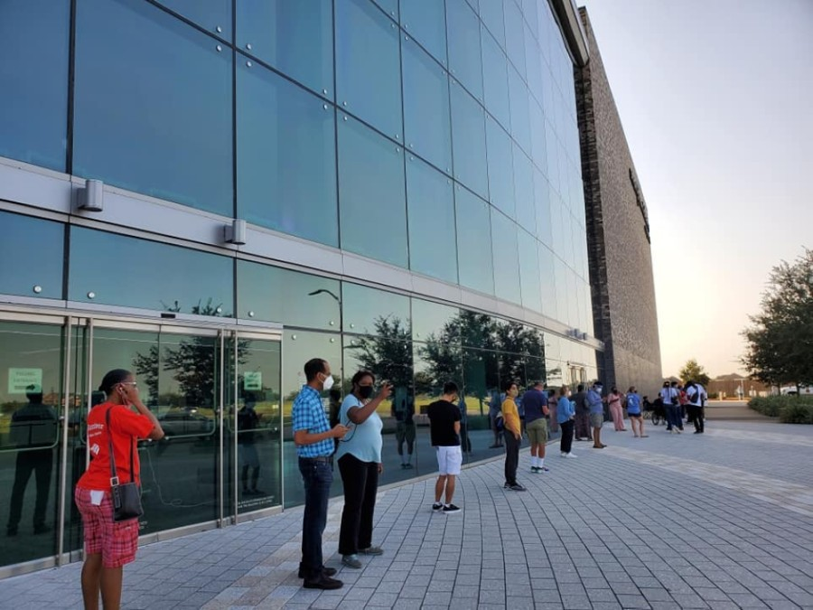 Voters wait in line at the Smart Financial Centre in Sugar Land on the first day of early voting. (Courtesy Fort Bend County Judge KP George)