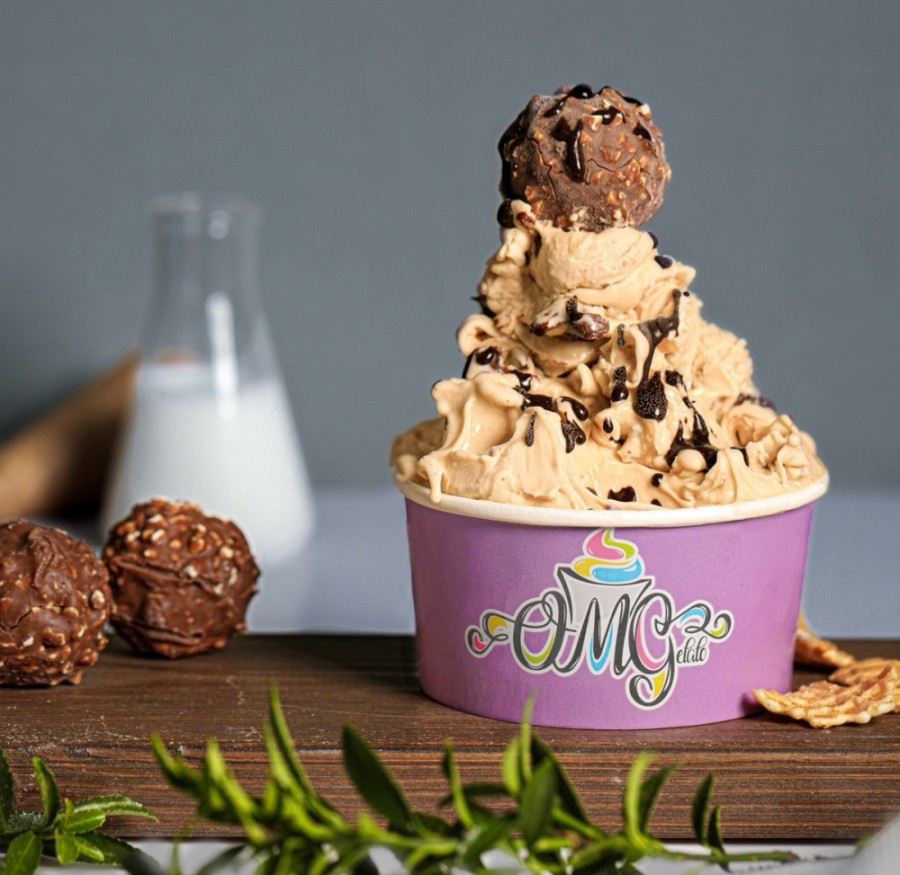 Customers at OMGelato have the option of combining more than 60 base flavors with 50 mix-ins, syrups and toppings, such as candies, nuts and fruits. (Courtesy OMGelato)