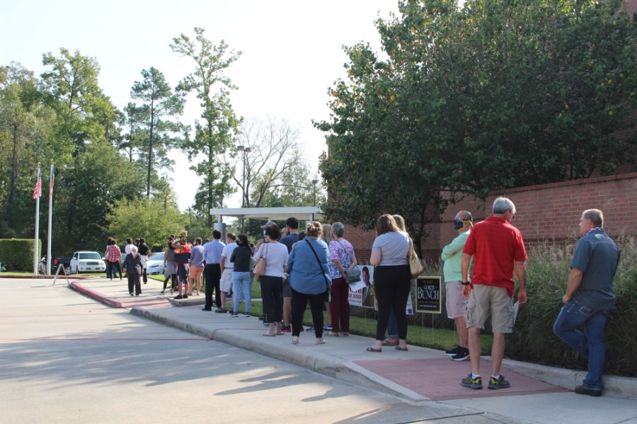 Hundreds of Montgomery County voters cast ballots at the George and Cynthia Woods Mitchell Library in The Woodlands on Oct. 13. (Ben Thompson/Community Impact Newspaper)
