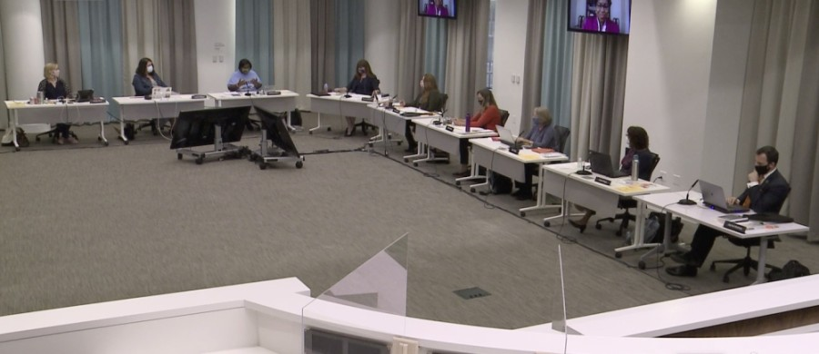 Austin ISD trustees met for a board meeting in person Oct. 12, although the public was only permitted to participate virtually. (Courtesy Austin ISD)