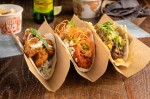 The Dallas-based restaurant serves more than 20 varieties of globally inspired tacos, such as the spicy tikka chicken, the buffalo chicken and the slow-roasted brisket. (Courtesy Velvet Taco)