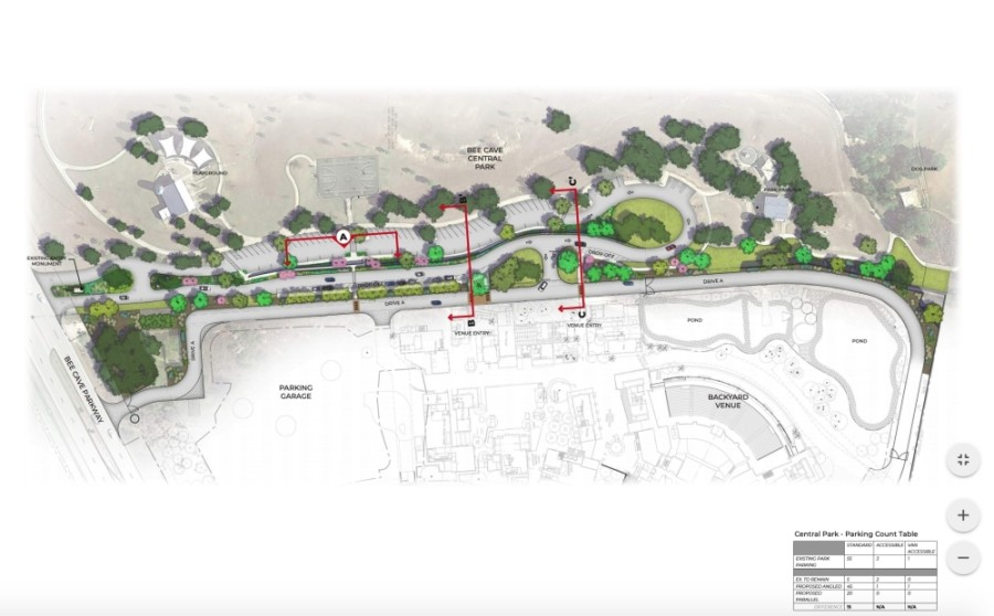 Bee Cave's Central Park could be utilized as a ride-sharing location for an upcoming 3,000-plus-person event venue within The Backyard development. (Courtesy city of Bee Cave)